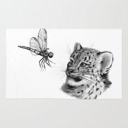 Snow leopard cub and dragonfy G148 Rug