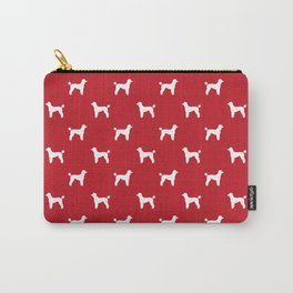 Poodle silhouette red and white minimal modern dog art pet portrait dog breeds Carry-All Pouch