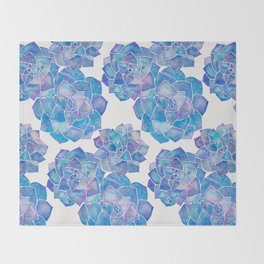 Rosette Succulents – Blue Palette Throw Blanket
