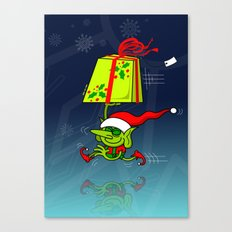 Christmas Elf Bringing a Gift Canvas Print