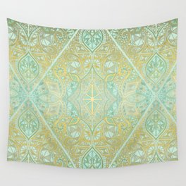 Mint & Gold Effect Diamond Doodle Pattern Wall Tapestry