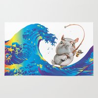 hokusai Area & Throw Rugs featuring Hokusai Rainbow & Hippopotamus Fishing  by FACTORIE
