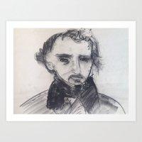 edgar allen poe Art Prints featuring Edgar Allen Poe by Samuel Joshua Elkin