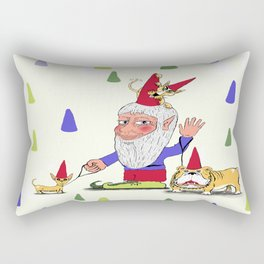 A gnome, two dogs, and a cat Rectangular Pillow
