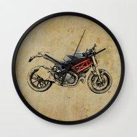 ducati Wall Clocks featuring Ducati Monster 796 by Larsson Stevensem