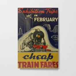 Cheap Train Fares Vintage Travel Poster Metal Print