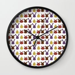 Bear, bunny, chick and a fox patten Wall Clock