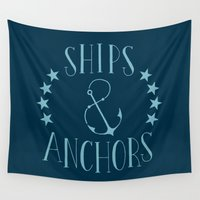 ships Wall Tapestries featuring Ships & Anchors by Travis Passons