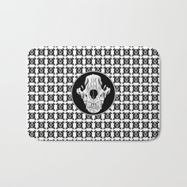 Amos Fortune skull pattern with circle Bath Mat