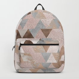 Copper and Blush Rose Gold Marble Triangles Backpack
