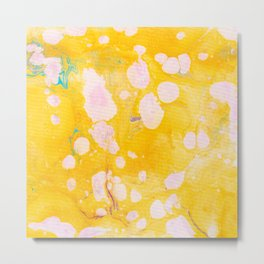 speckled marble | yellow Metal Print