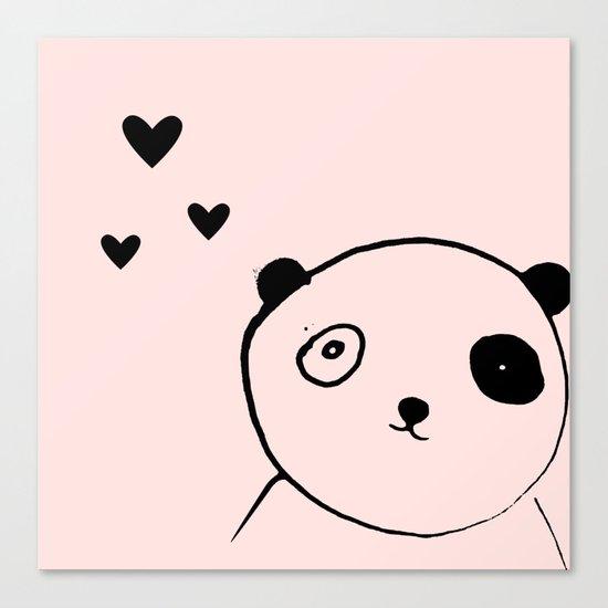 Panda in love pink Canvas Print