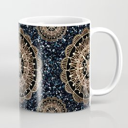 Black and White Sparkles & Rose Gold Mandala Textile Coffee Mug
