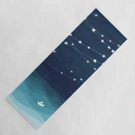 Garlands of stars, watercolor teal ocean Yoga Mat