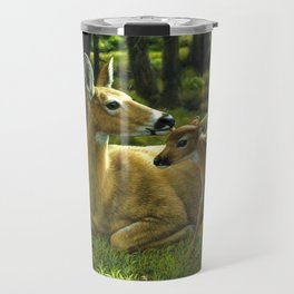 Whitetail Deer and Cute Spring Fawn Travel Mug