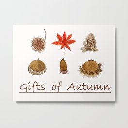 Gift of autumn watercolor painting Metal Print