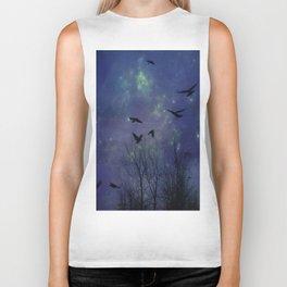 Celestial Night Of Crows Biker Tank