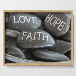 Love Faith Hope Christian Quote Black Pebble Embossing Serving Tray
