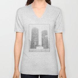 Marina Towers - Chicago - Purple Unisex V-Neck