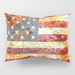 American Flag On Rusted Riveted Metal Door Pillow Sham