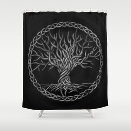 Tree of life -Yggdrasil -grayscale Shower Curtain