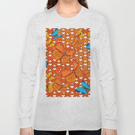 YELLOW BLUE ORANGE BUTTERFLY ABSTRACT WORLD Long Sleeve T-shirt