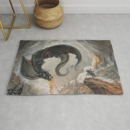 Black Battle Dragon Rug