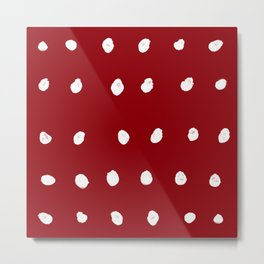 Dots - Red and White Metal Print