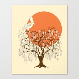 weeping willow, pelican and sun Canvas Print