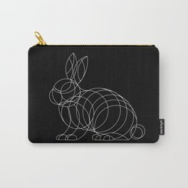 Geo Bunny - White Ink on Black Carry-All Pouch
