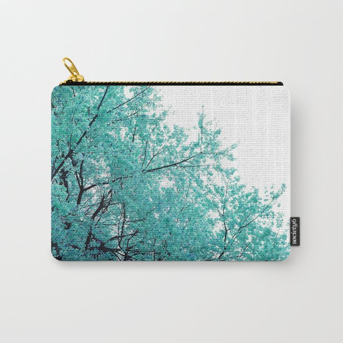 Turquoise Cherry Blossoms Carry-All Pouch