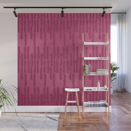 Eye of the Magpie tribal style pattern - raspberry red Wall Mural