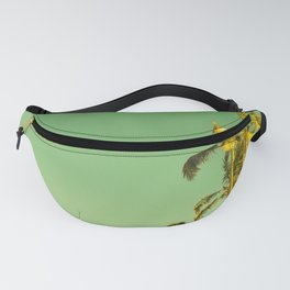 palm love in tropical green gold jewel tones Fanny Pack