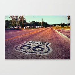 U.S. Route 66 highway, with sign on asphalt on Missouri. Canvas Print