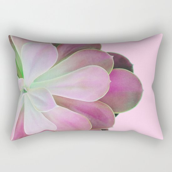 Acid Green and Pink Echeveria Rectangular Pillow