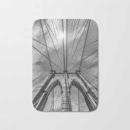 NEW YORK CITY Brooklyn Bridge in Detail | monochrome Bath Mat