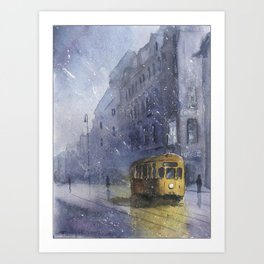 An old yellow tram Art Print