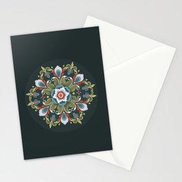 Rosemaling on Black Stationery Cards