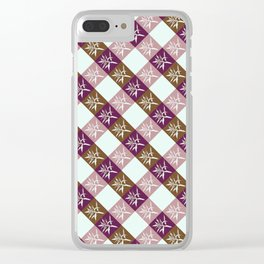 Vichy pattern leaf pink Clear iPhone Case