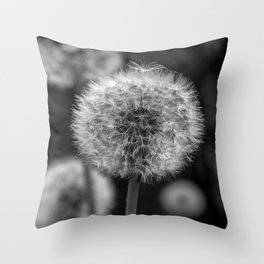 Monochromatic dandelion on black Throw Pillow