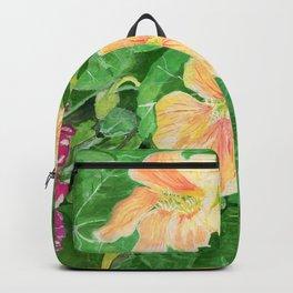Nasturtium flowers in the garden Backpack