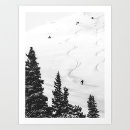Backcountry Skier // Fresh Powder Snow Mountain Ski Landscape Black and White Photography Vibes Art Print
