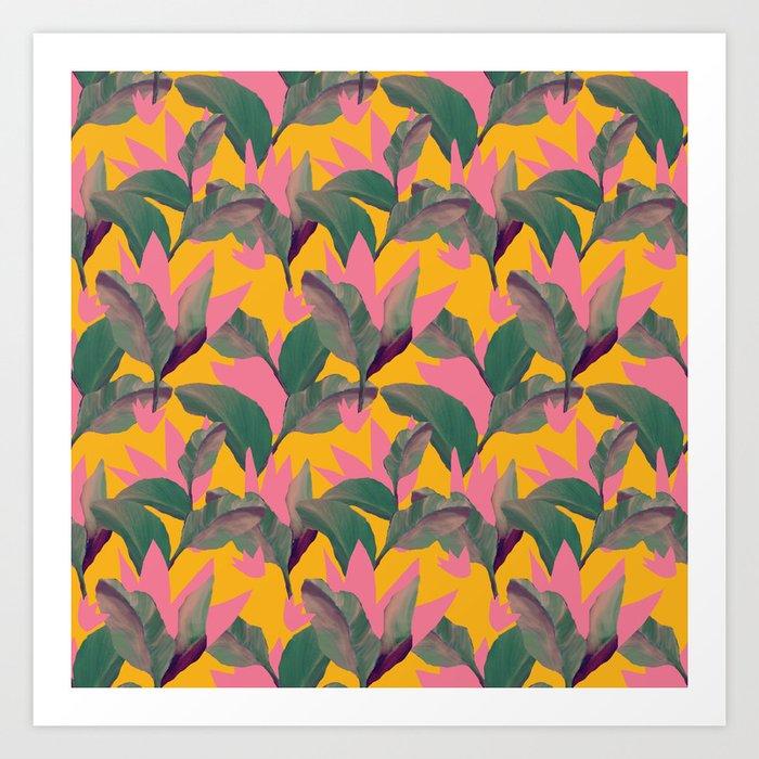 Retro Luxe Lilies Pattern Art Print