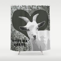 totes Shower Curtains featuring Totes Ma Goats - Grey by BACK to THE ROOTS