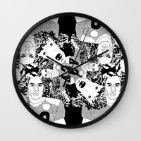 caleb troy Wall Clocks featuring Troy Polamalu's Poodle Hair by sabsurd