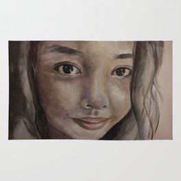 Watercolor portrait pretty asian girl Rug