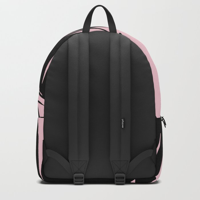Unique Black and Pink Tropical Banana Leaves Pattern Backpack