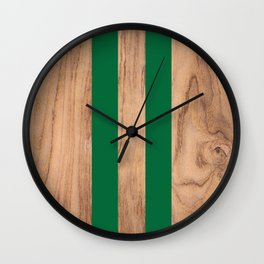 Wood Grain Stripes Green #319 Wall Clock