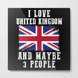 British Flag I Love England Metal Print
