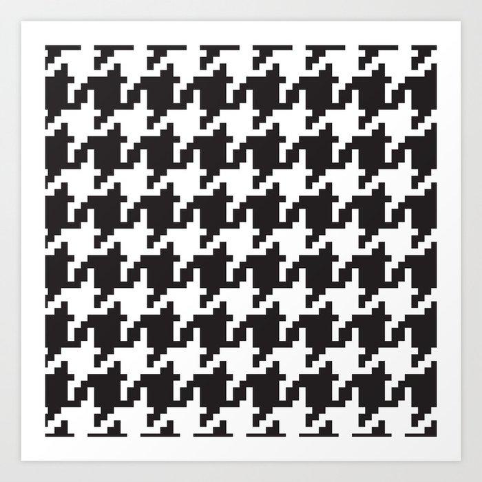 Houndstooth - Black & White Art Print